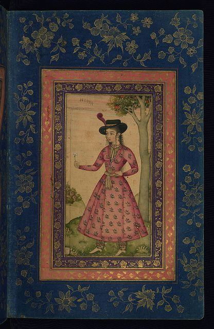 Album of Persian and Indian calligraphy and paintings, Woman in a European hat holding a flower, Walters Manuscript W.668, fol.18b by Walters Art Museum Illuminated Manuscripts, via Flickr