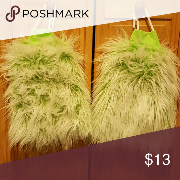 Love these!! Super cute - fuzzy legwarmers The base is neon green with white fur. Accessories Hosiery & Socks