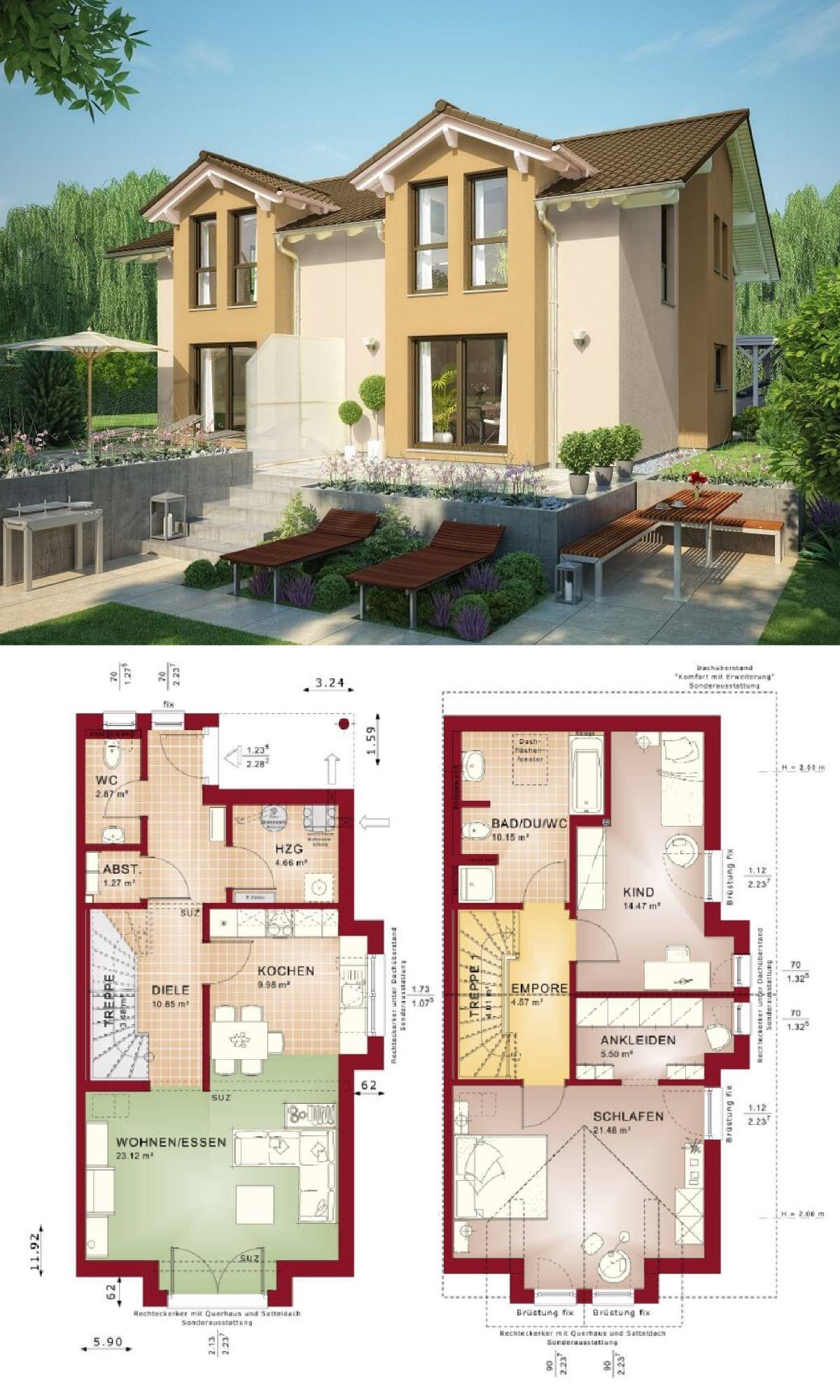 Stilvolles doppelhaus mit satteldach haus celebration for Doppelhaus grundriss modern