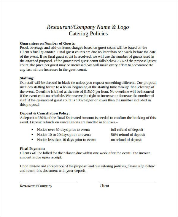 business proposal format free pdf word documents download letter - catering business plan template
