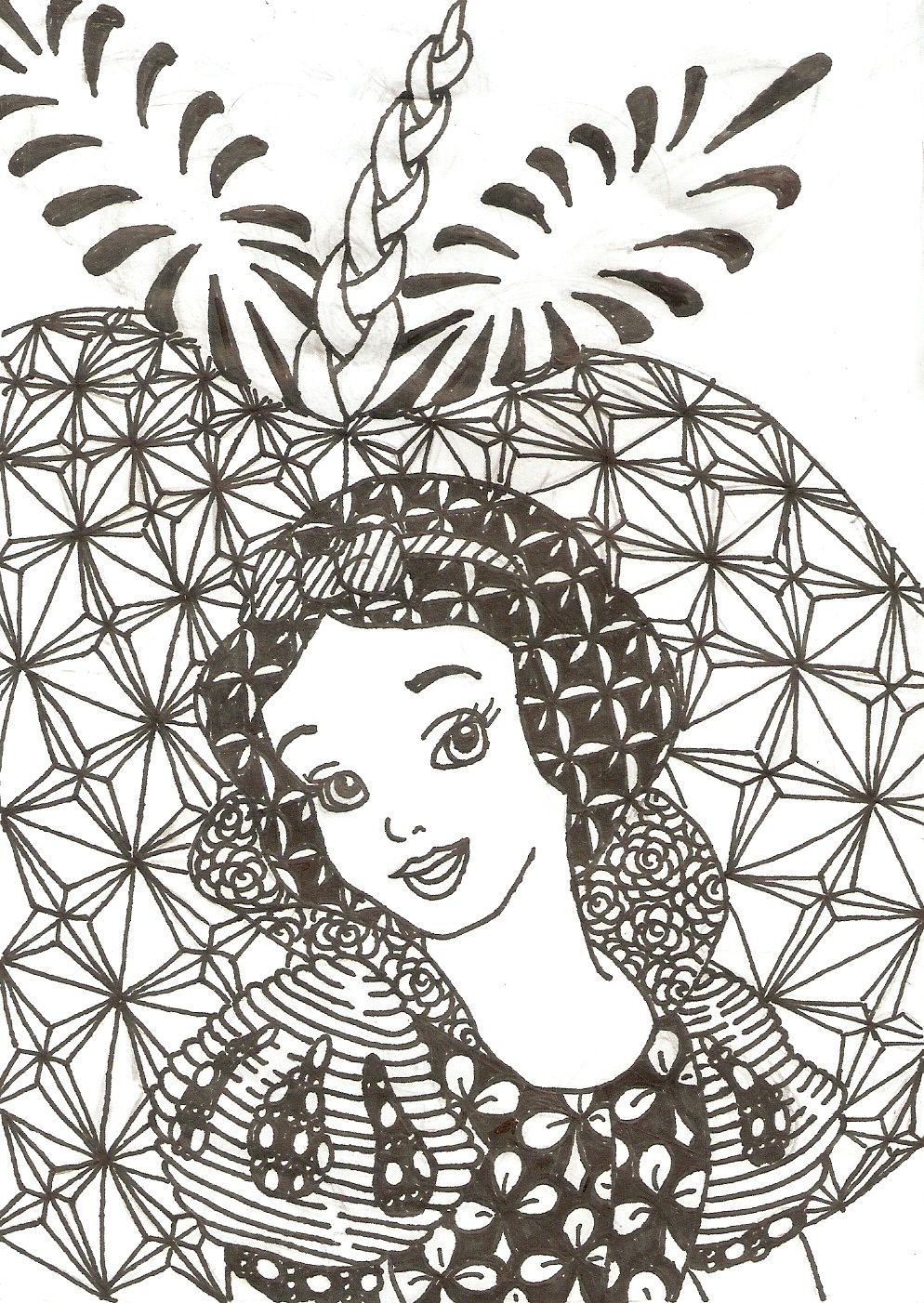 Zentangled Princesses Snow White By Crystal Of Ix On Deviantart Disney Coloring Pages Mandala Coloring Pages Coloring Pages