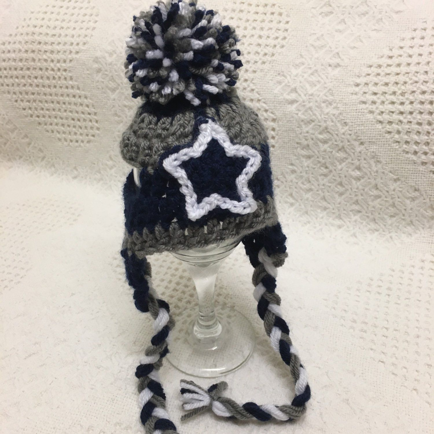 Dallas Cowboy inspired dog toboggan. Cute and warm. Perfect for game day. Football fan.