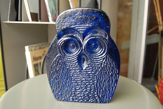 Vintage  Deep Blue Modern Blenko Owl by swankarama on Etsy,  Great glass bookend paper weight or decoration