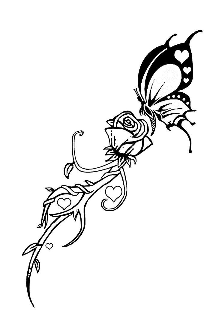 Butterfly And Rose Tattoo By Dvco On Deviantart Tribal Rose Tattoos Butterfly Tattoo Rose Tattoo Design,Electrical Control Panel Design Calculations