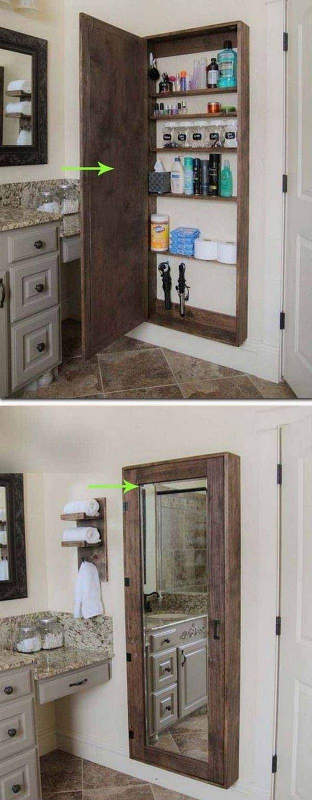 26 DIY Home Decor Ideas For Those On A Serious Budget. Storage Mirror Bathroom ...