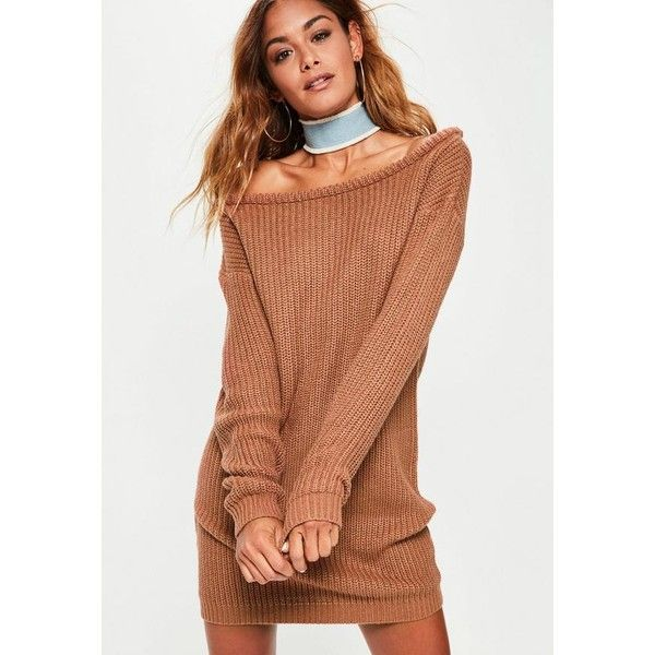 00f9a712039 Missguided Off Shoulder Knitted Jumper Dress ( 38) ❤ liked on Polyvore  featuring dresses