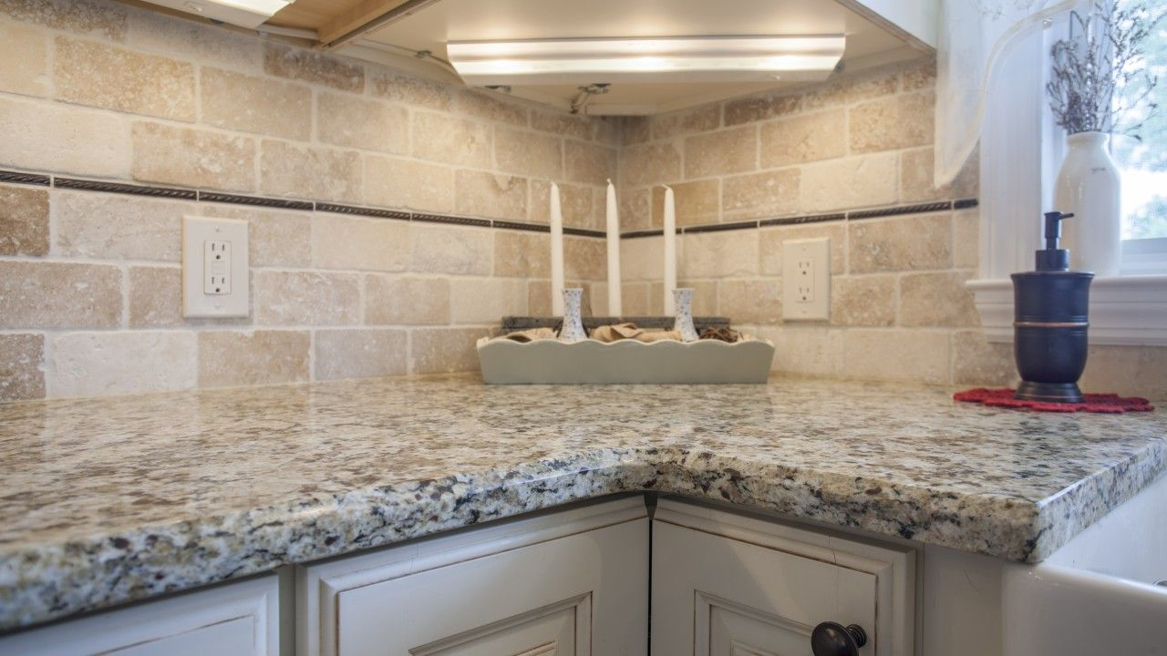 Giallo Napole Granite Kitchen Countertop With A Dual Layer