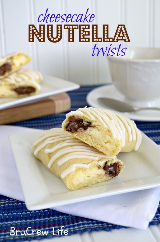 Cheesecake Nutella Twists- very easy breakfast idea using crescent rolls, nutella, and a cream cheese filling.  http://www.insidebrucrewlife.com    #breakfast #nutella #cheesecake