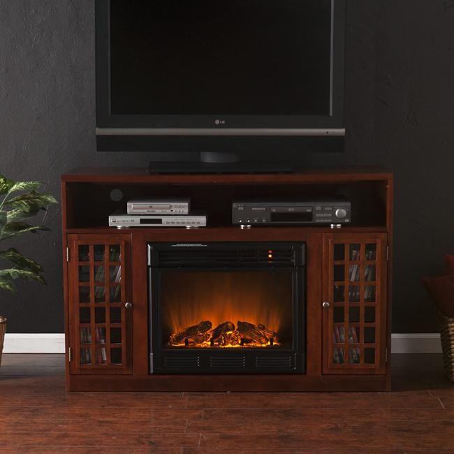 Harper Blvd Brannick Mahogany Media Console Fireplace Overstock