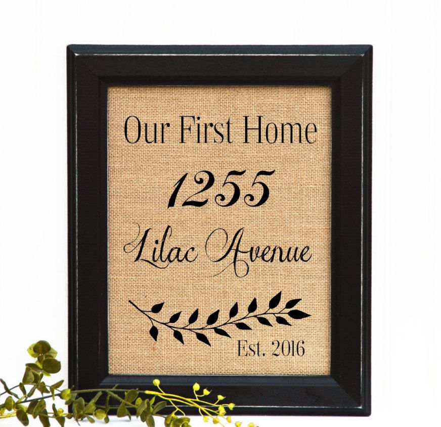 Personalised Home Is Where New Home Gift Print By: Framed Housewarming Gift, House Warming Gift, Burlap Print