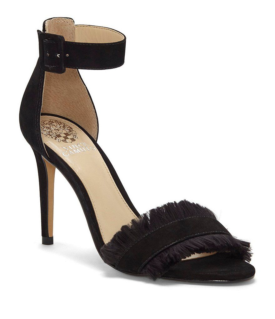 46d720d86bb Black Vince Camuto Joshina Suede and Nubuck Fringe Ankle Strap Dress Sandals