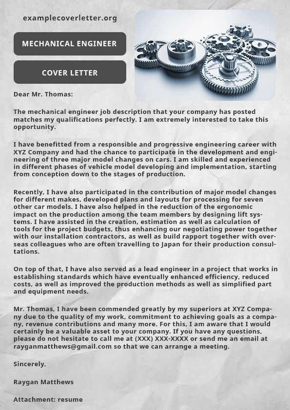 Mechanical Engineer Cover Letter Example | Example Cover ...
