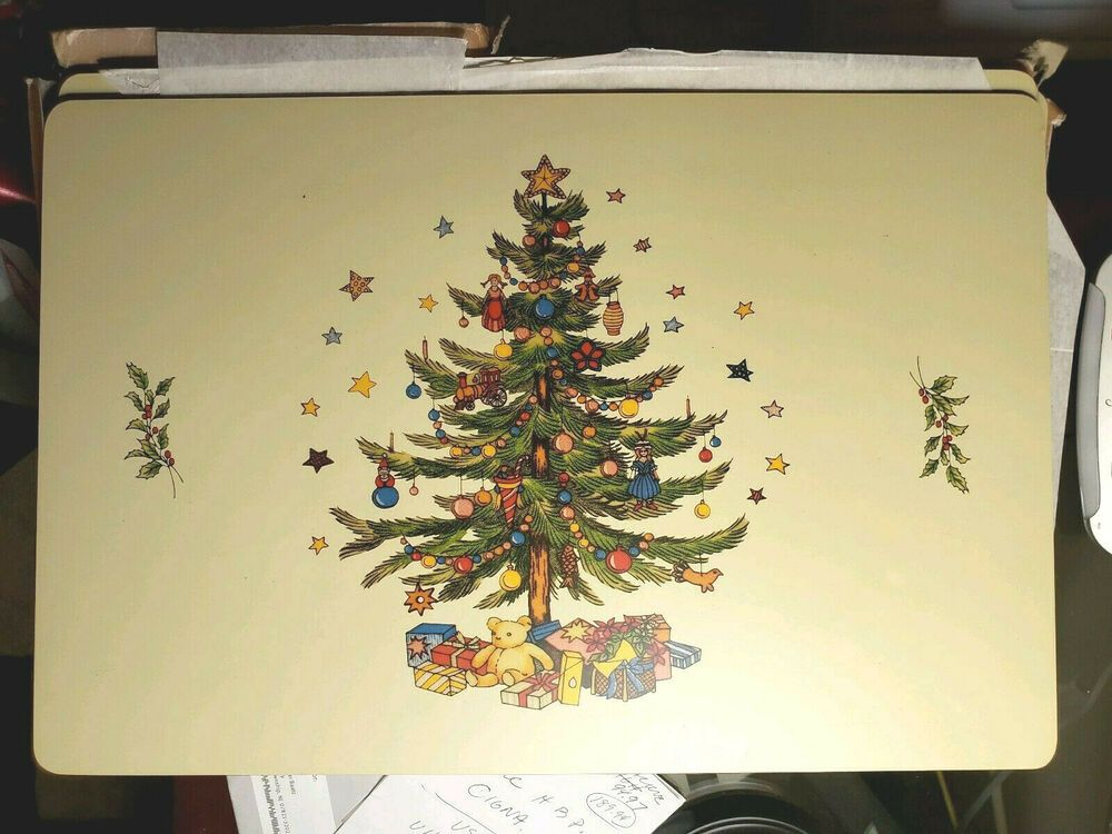 Christmas Tree Place Mats 12x Cork Backed Hard Board Nos Placemats Mr Christmas Christmas Tree