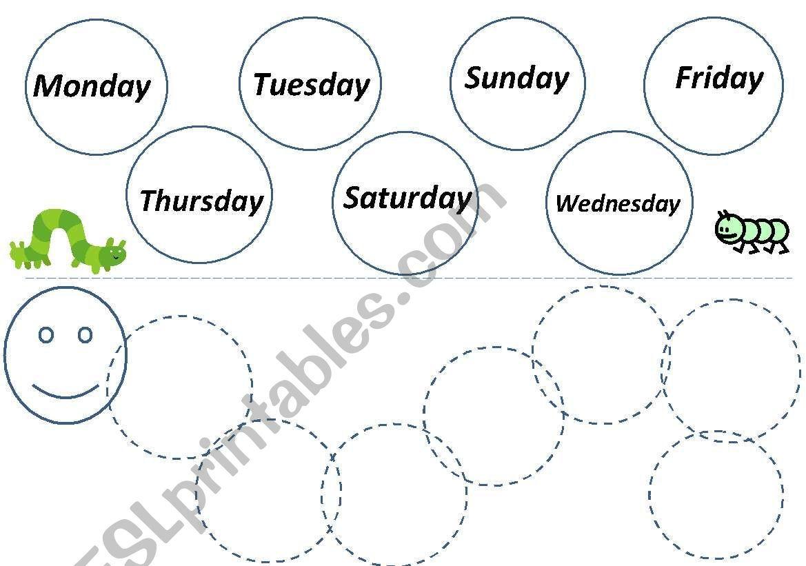 Caterpillar Worksheet For Ordering Days Of The Week