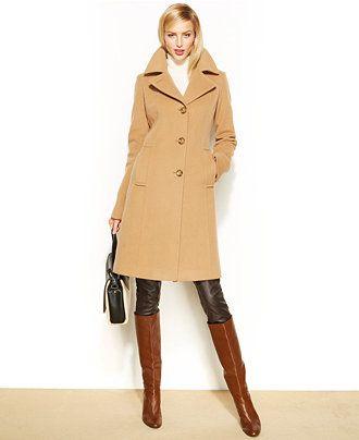 c6913293a70c6 Anne Klein Wool-Cashmere-Blend Notched-Collar Walker Coat - Coats - Women -  Macy's