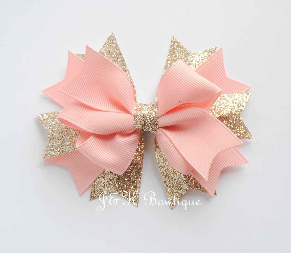 Light Pink And Champagne Boutique Bow Large Hair Bow Happy Birthday Bow Blush Pink Hair Clip Toddler Bows Glitter Bow Birthday Bow Large Hair Bows Boutique Bows Boutique Hair Bows