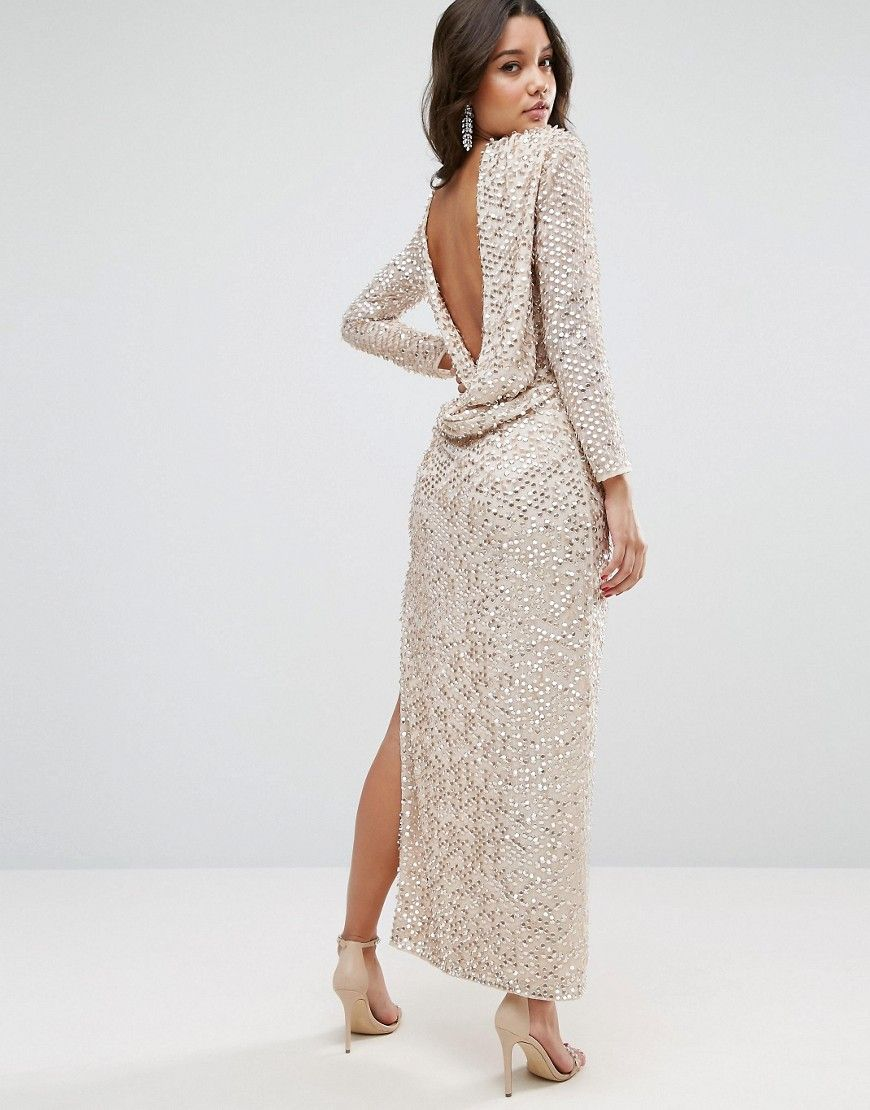 05993be260c5 ASOS All Over Sequin Cowl Back Maxi Dress - Silver | bday | Sequin ...