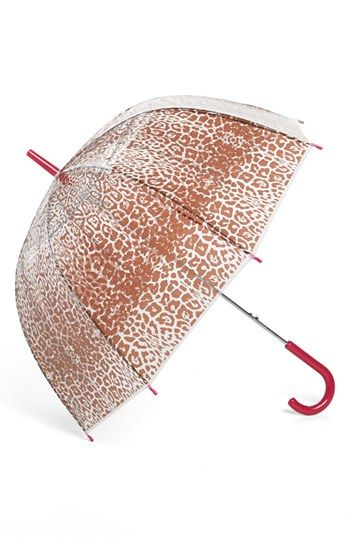Tri-Coastal Design Leopard Print Bubble Umbrella (Juniors) | Nordstrom