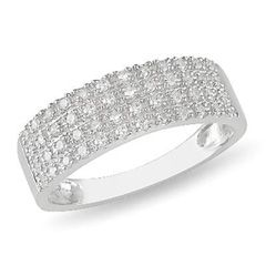 Zales 1/4 CT. T.w. Diamond Four Row Anniversary Band in Sterling Silver 0M9xcp