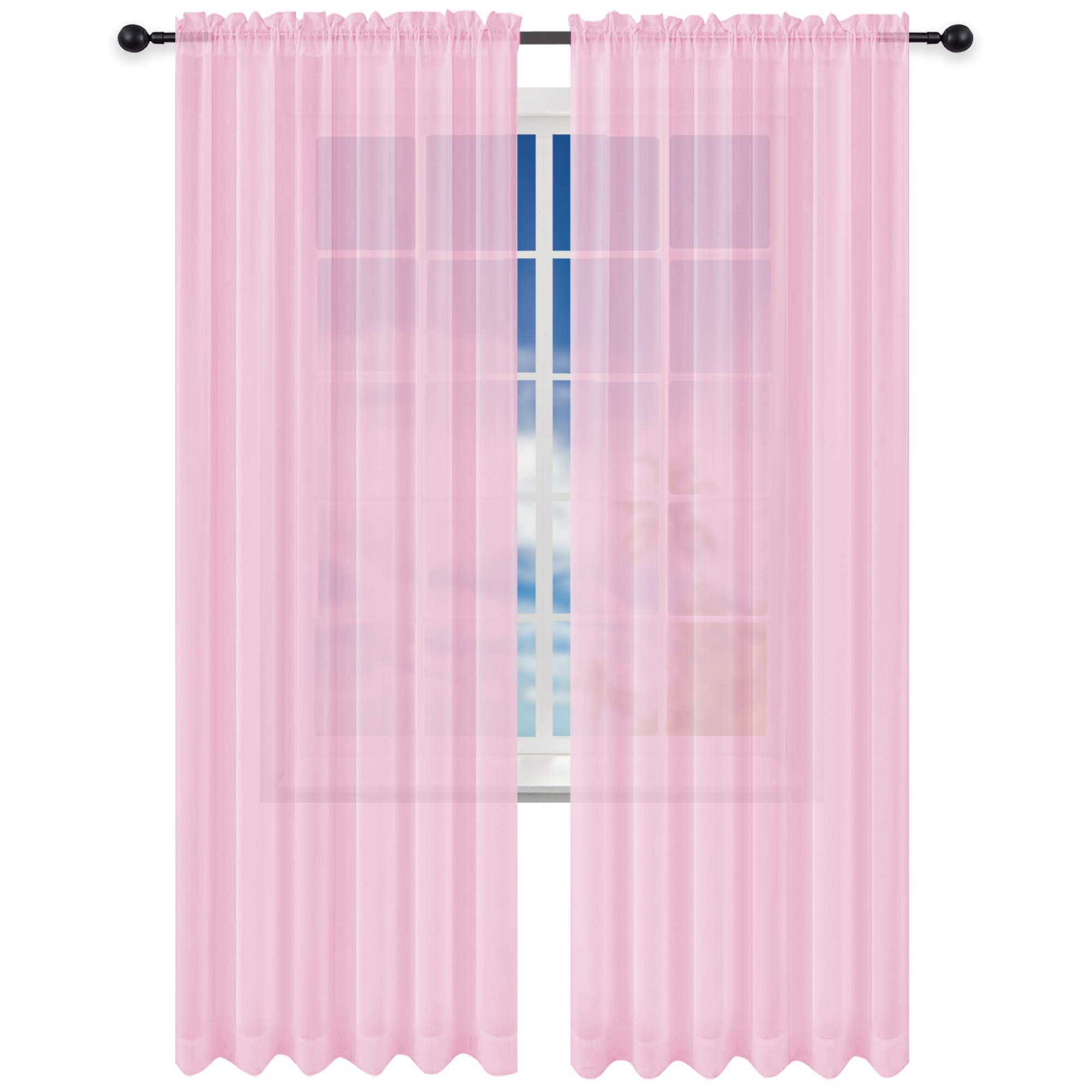 Keqiaosuocai 2 Panels Girls Room Baby Pink Sheer Curtains Panels