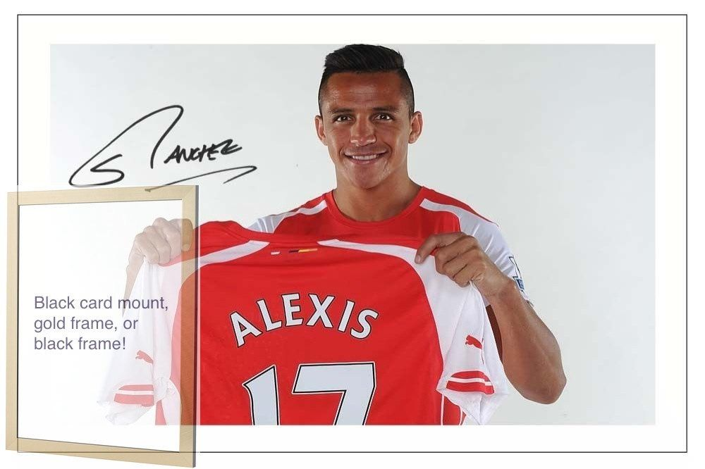 Alexis Sanchez Arsenal Football Club signed autographed A4 print on card mount black / gold frame