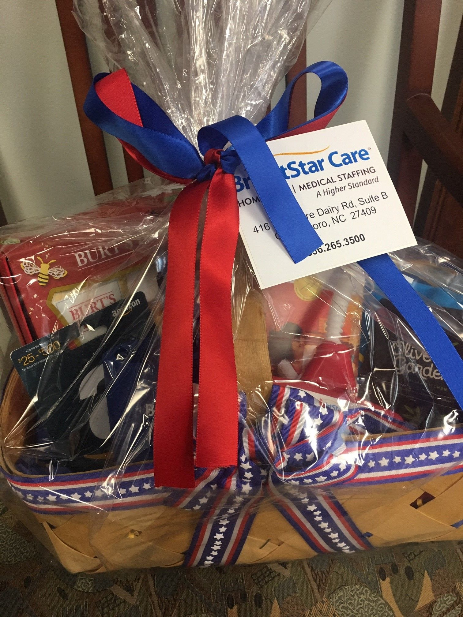 Gift basket including Amazon and Olive Garden gift cards
