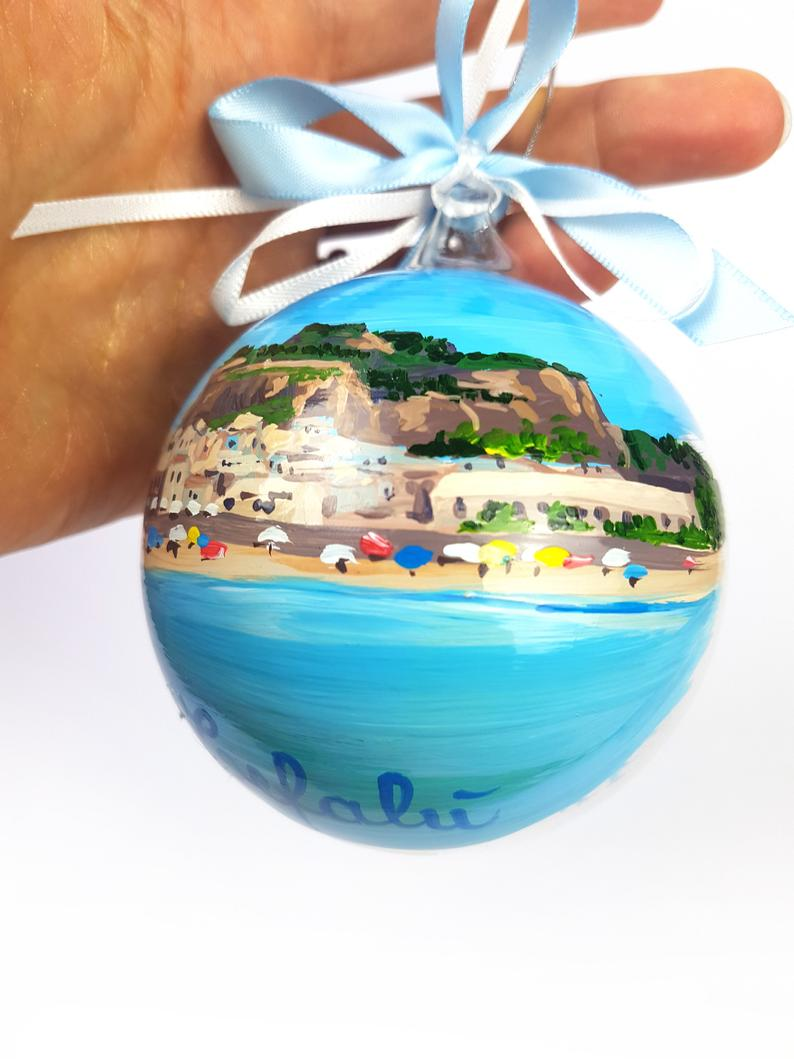 Sicily Ornament City Of Monreale Christmas Ball Painted Etsy Christmas Balls Classic Christmas Decorations Hand Painted Ornaments