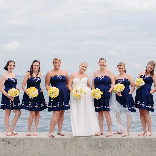 Preppy Navy Bridesmaid Dresses // Mary Wyar Photography // http://www.theknot.com/weddings/album/a-preppy-seaside-affair-in-put-in-bay-oh-146558