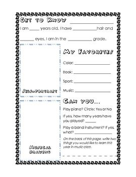 Get To Know You in Music Class Worksheet | Middle school ...
