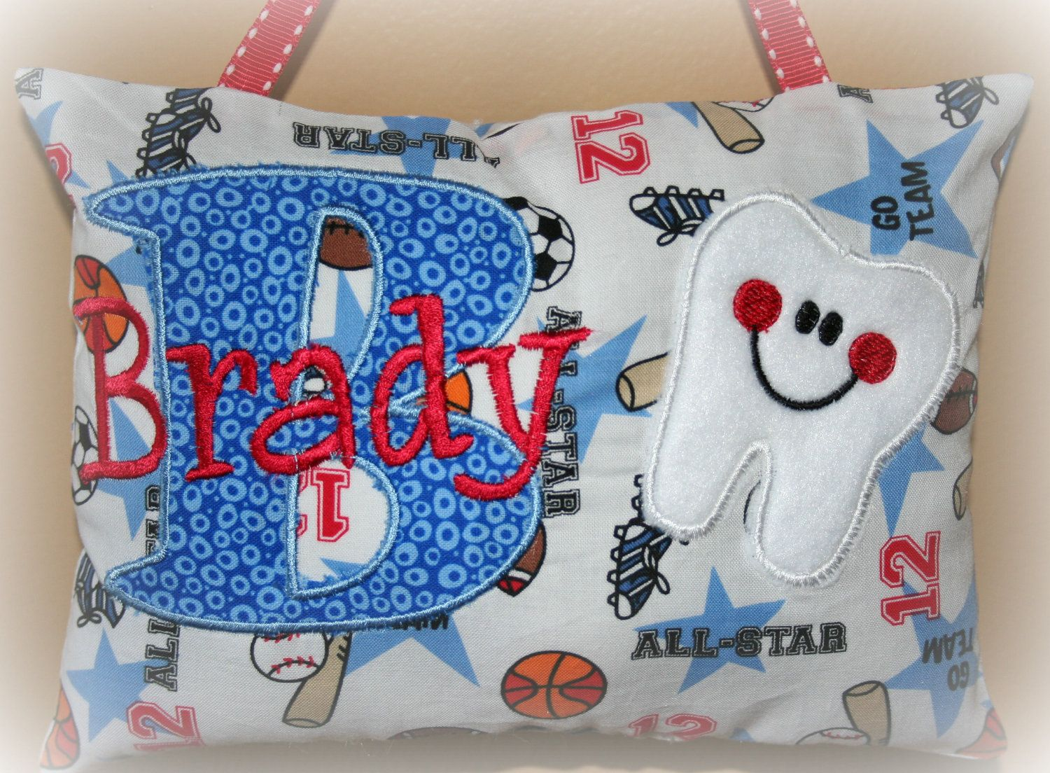 6fc07a3b9fc5ed Boys Tooth Fairy Pillow - Personalized - Sports.  22.00