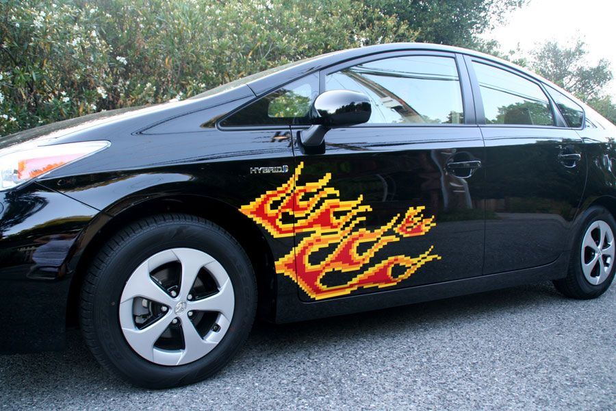 Bit Car Flames Decal Toyota Prius And Cars - Magnetic car decals flames