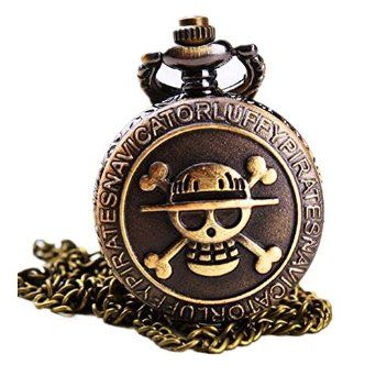 Amazon.com - Antique Bronze Anime Skull One Piece Luffy Quartz Pocket Watch with Chain New - Personal Necklace Fans