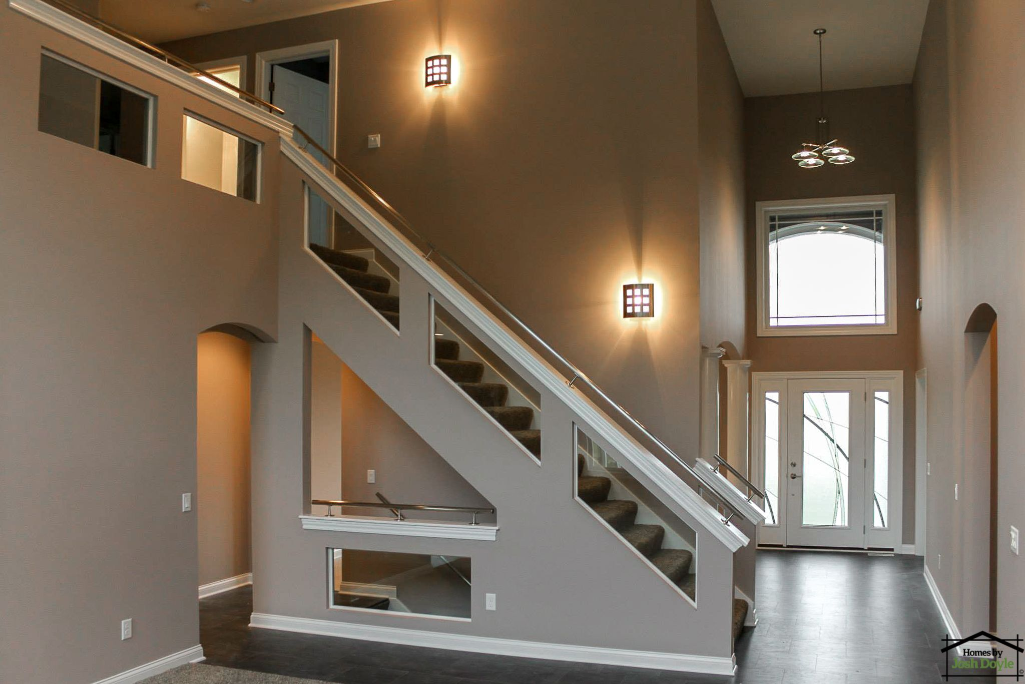 Custom Half Wall Staircase With Glass Inserts Custom Home   Half Wall Staircase Design   Railing   Limited Space Small Stair   Kitchen   Closed   Contemporary