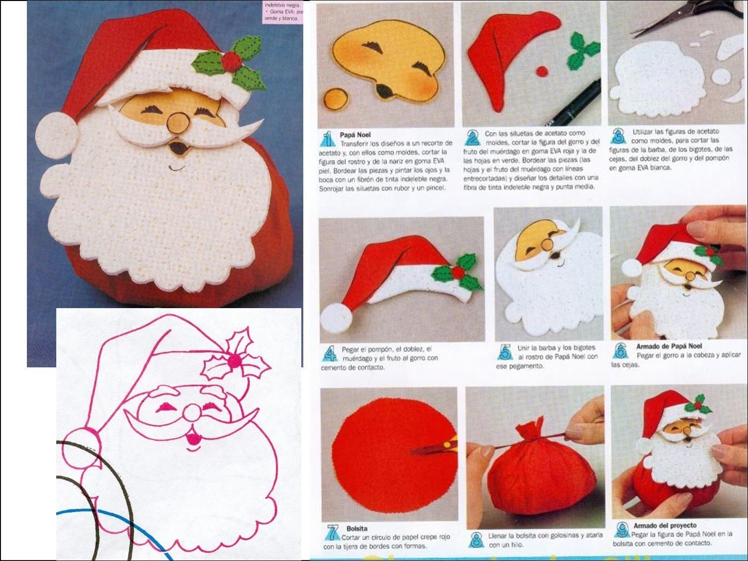 Manualidades Navidad Goma Eva Con Moldes Papá Noel Divertidas