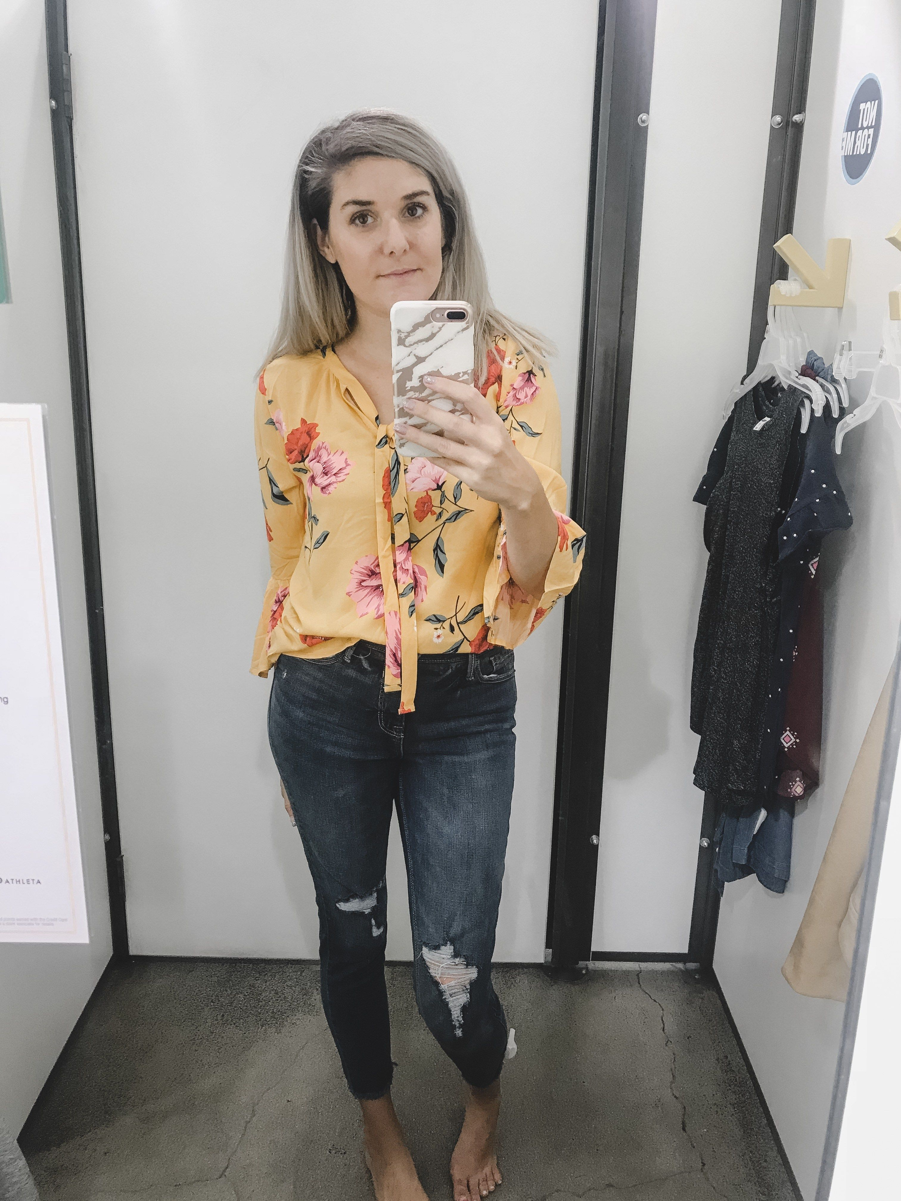4311849999 Fitting Room Diaries- Old Navy Fall Fashion Finds. Mustard Floral Blouse  and distressed denim. Fall trend alert flroal blouse. Women s fall fashion  finds.