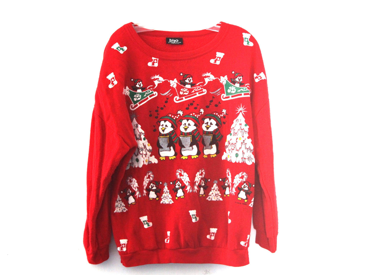 vintage 80s christmas sweater sweatshirt bears penguins glitter red by 216vintagemodern on etsy