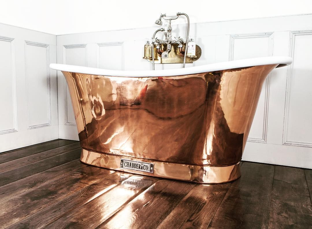 Chadder Royal Copper Bath polished copper exterior with white enamel ...