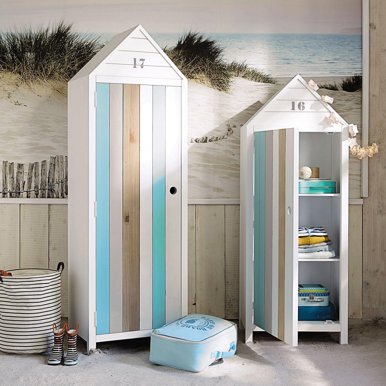 Kleiderschrank im StrandkabinenLook mit 1 Tür, weiß (mit
