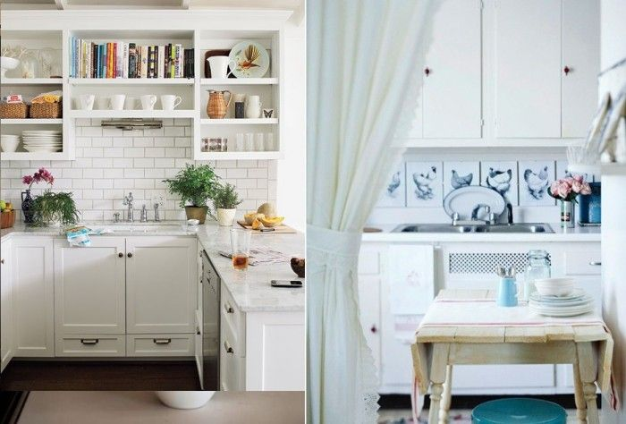 white cottage kitchen backsplash design with white kitchen cabinet indoor plant white curtain and arch faucet