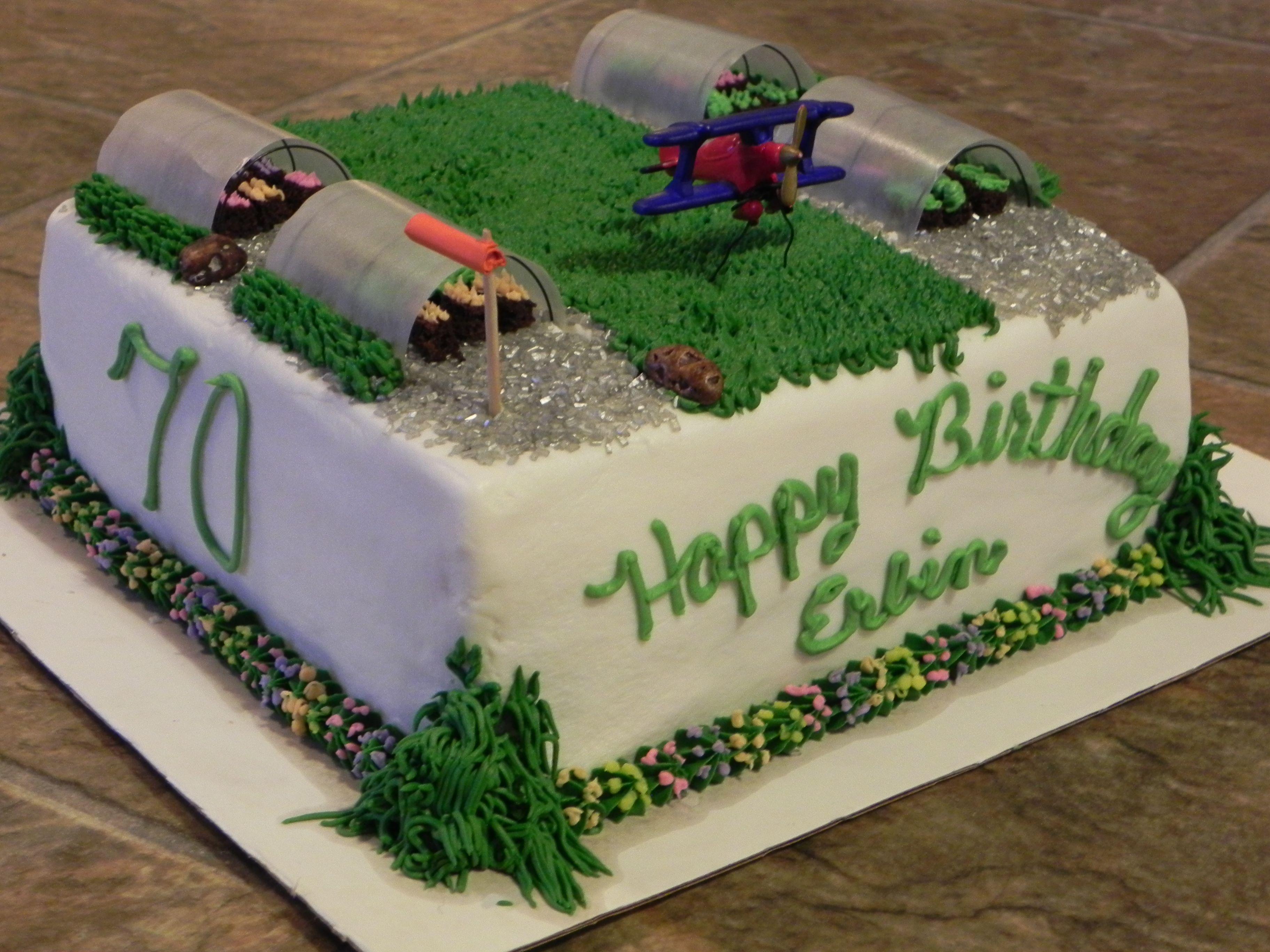 Fun Airport Grass Strip With Greenhouses Birthday Cake Cake