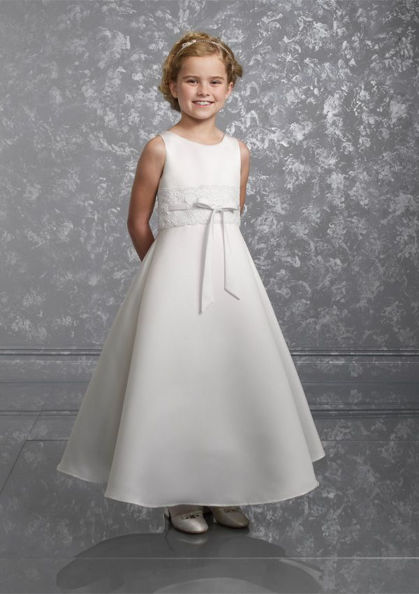 755aa626c2 high quality satin first communion dress with sash · White Flower Girl ...
