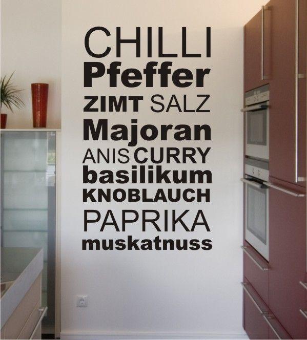 Gewürze, Wandtattoo, Wandsticker, Gewürztattoo, Wandgestaltung - wandgestaltung in der küche