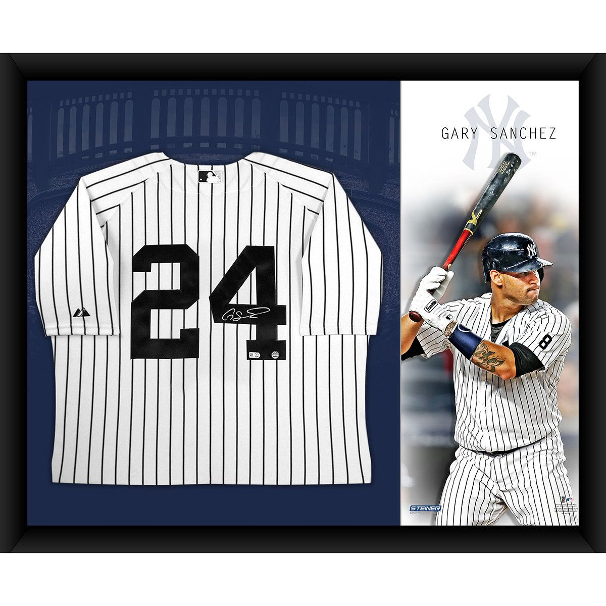 GARY SANCHEZ Signed New York Yankees Home Jersey Framed 32x40 w/ Canvas  Background STEINER -