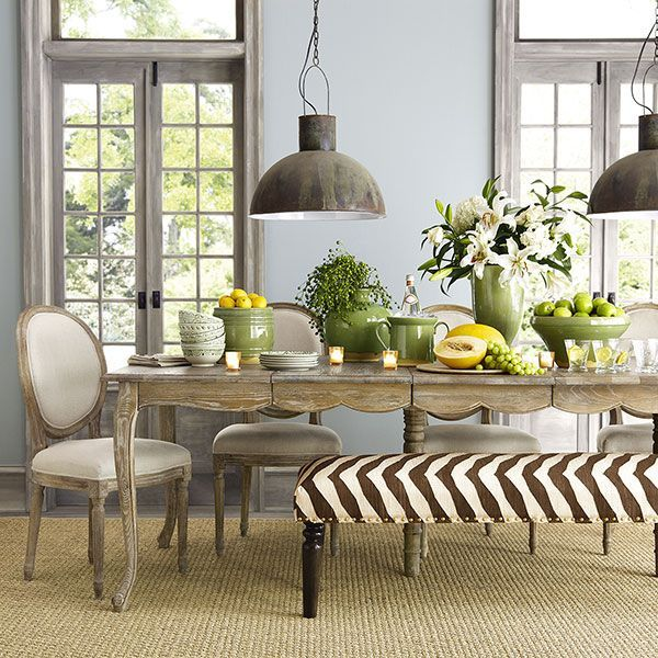 Beautiful Dining Rooms * Blue wall color, gray stained trim, sisal - Beautiful Dining Rooms