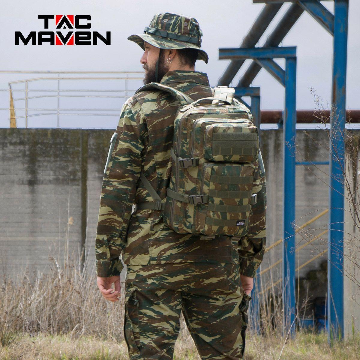 TAC MAVEN Assault Backpack Large Hiking Tactical Army Outdoor Greek Lizard Camo