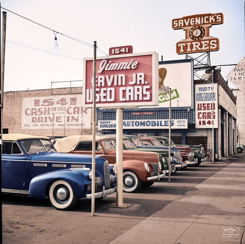 1942 Used car lot Hollywood, Ca. LaSalle, Mercury, Ford, Cadillac ...