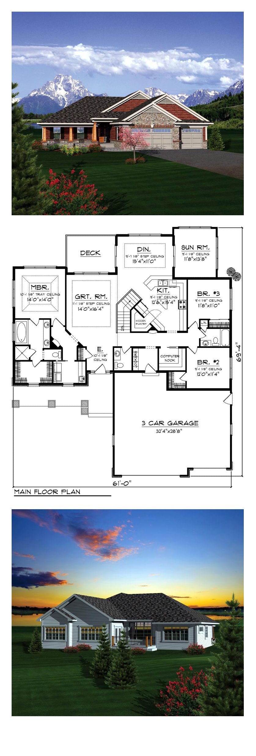 Ranch House Plan 73404 Total Living Area 2196 Sq Ft