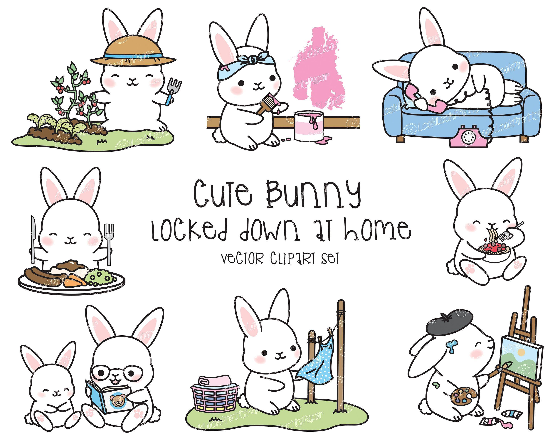 Premium Vector Clipart Kawaii Bunny Cute Bunny Locked Down Etsy Hipster Animals Kawaii Bunny Kawaii Clipart