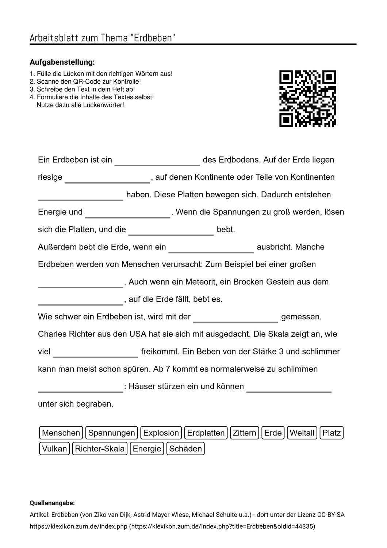 Arbeitsblatter Zum Thema Aufgabenstellung Vokabeln Lernen Arbeitsblatter