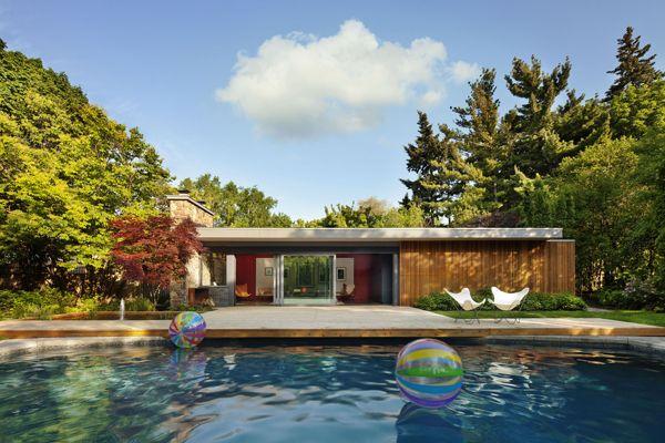 Modern Pool Houses mid-century modern pool house+tongtong | modern pool house